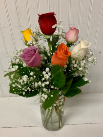 Six Assorted Roses in a Rope Jar