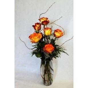 Six Fancy Roses Fresh Arrangement