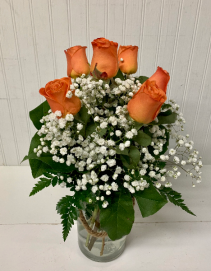 Six Orange Roses in Rope Jar