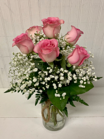 Six Pink Roses in Rope Jar