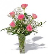 Six Pink Roses Vase Arrangement