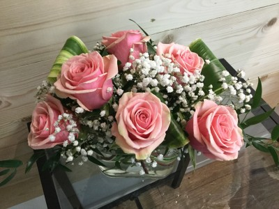 Six Pink Roses Vased