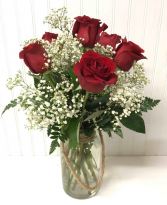 Six Red Roses in Rope Jar
