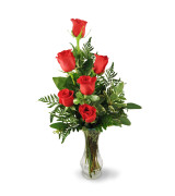 Six Red  Vase arrangement