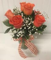 Six Orange Roses
