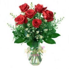 Six Roses Arranged Vase