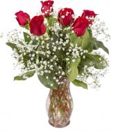 Six Roses Vased Valentine