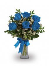 SIX ROYAL BLUE ROSE BOUQUET