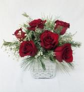 Six Snowy Roses Centerpiece