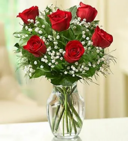SIX STEMS OF RED ROSES ROSES