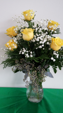 Six Sundrop Yellow Roses Vase Arrangement