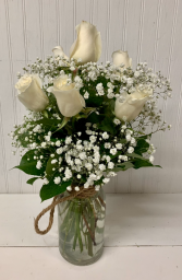 Six White Roses in Rope Jar