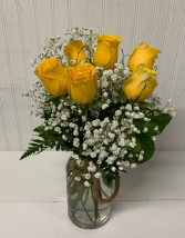 Six Yellow Roses in Rope Jar