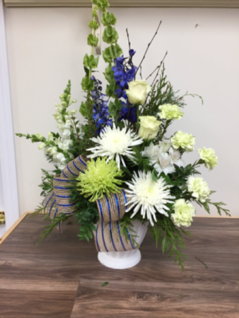 Sky blue tribute Sympathy arrangement