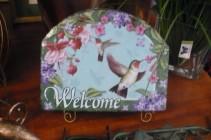 "Slate Hummingbirds $25.00 Welcome 10""x 8"" high"