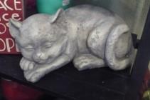 "Sleeping Kitten $40.00 poly stone 9"" long"