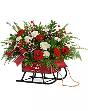 Sleigh Bells Bouquet Christmas Arrangement