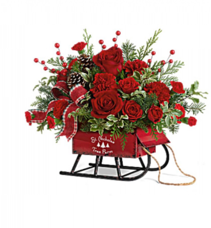 Rosey Sleigh Bouquet  Christmas
