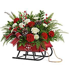 Sleigh Bells Floral Arrangement Christmas in Prairie Grove, AR | Designs By Flowers-N-Friends LLC