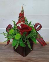 Sleigh Christmas basket Wood sleigh, notebook and chocolate