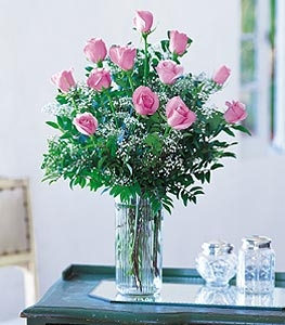 One Dozen Pink Roses   Vase Arrangement