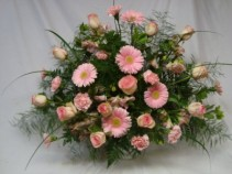ALWAYS IN MY HEART TRIBUTE ARRANGEMENT Shades of pinks...roses, gerbera daisies, altra lillies, etc.