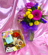 "Small ""Daisies & Delicacies"" Fresh Flowers with The Charcutie Girl box"