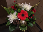 small hand tied bouquet of cut flowers