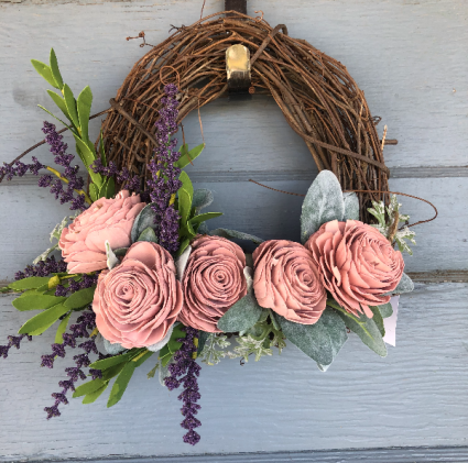Small Pink wooden flower grapevine wreath