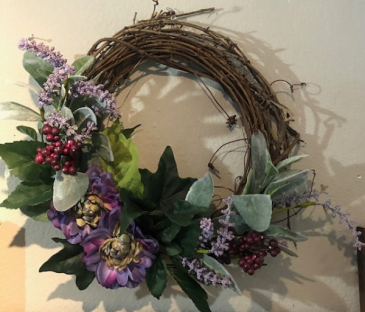 Small purple grapevine wreath