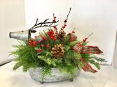 Small Tin Reindeer Arrangement Christmas