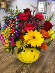 Smiley Face Bouquet  Keepsake Container