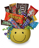 Smiley Face  Candy Bouquet one side
