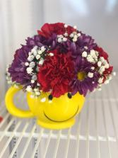 Smiley Mug Fresh Flowers