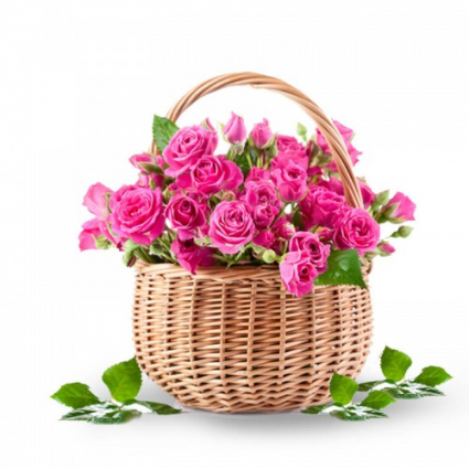 Smiling Pink Rose Basket SOLD OUT FOR VALENTINES DAY