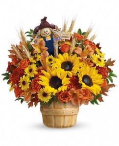 SMILING SCARECROW Arrangement of Flowers