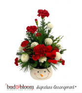 *SOLD OUT* Smiling Snowman Bud & Bloom Signature Arrangement