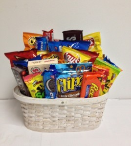 Snack and candy basket gift basket