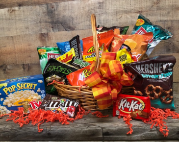 Snack Basket Basket filled with candy and snacks