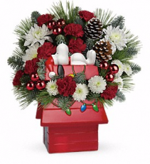 Snoopy's Cookie Jar Christmas Arrangement