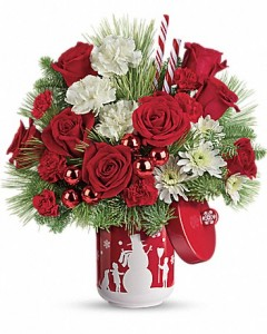 Snow Day Bouquet Telelfora - Two Gifts in One in Springfield, IL | FLOWERS BY MARY LOU INC
