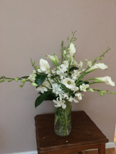 snow queen white vase arrangment