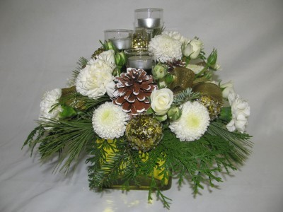 snow white table arrangement in Kitchener, ON - CAMERONS FLOWER SHOP