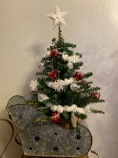 Snowflake Tree in Metal Sleigh