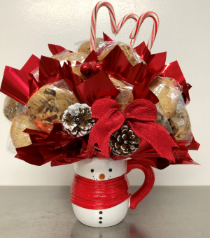 Snowman Cookie Arrangement Edible Bouquet in Springfield, IL | FLOWERS BY MARY LOU