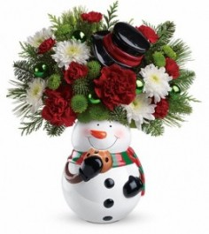 Snowman Cookie Jar Arrangment in Dunnellon, FL | LINDA'S ENCHANTED FLORIST