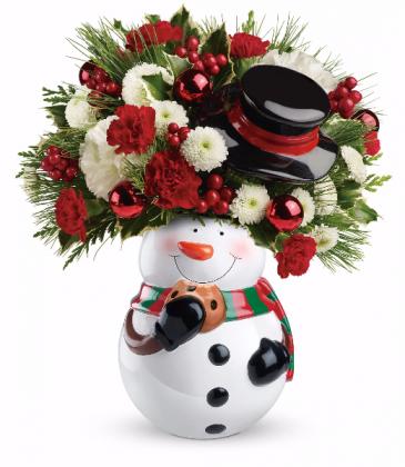 Snowman Cookie Jar bouquet