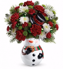 Snowman Cookie Jar Christmas Bouquet