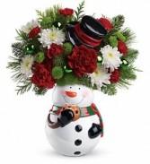 Snowman Cookie Jar Winter Bouquet