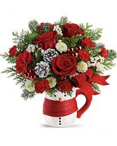 Snowman Mug Bouquet Christmas Flowers